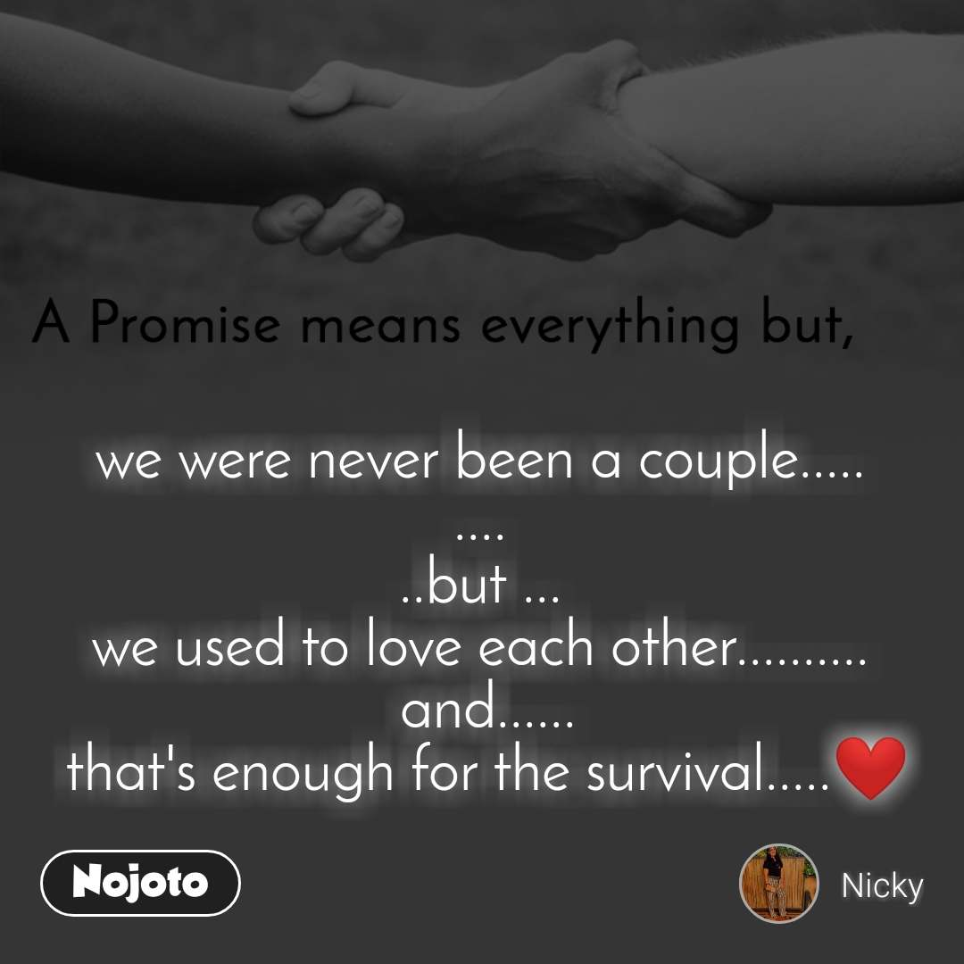 A Promise means everything but,  we were never been a couple..... .... ..but ... we used to love each other..........  and......  that's enough for the survival.....❤️