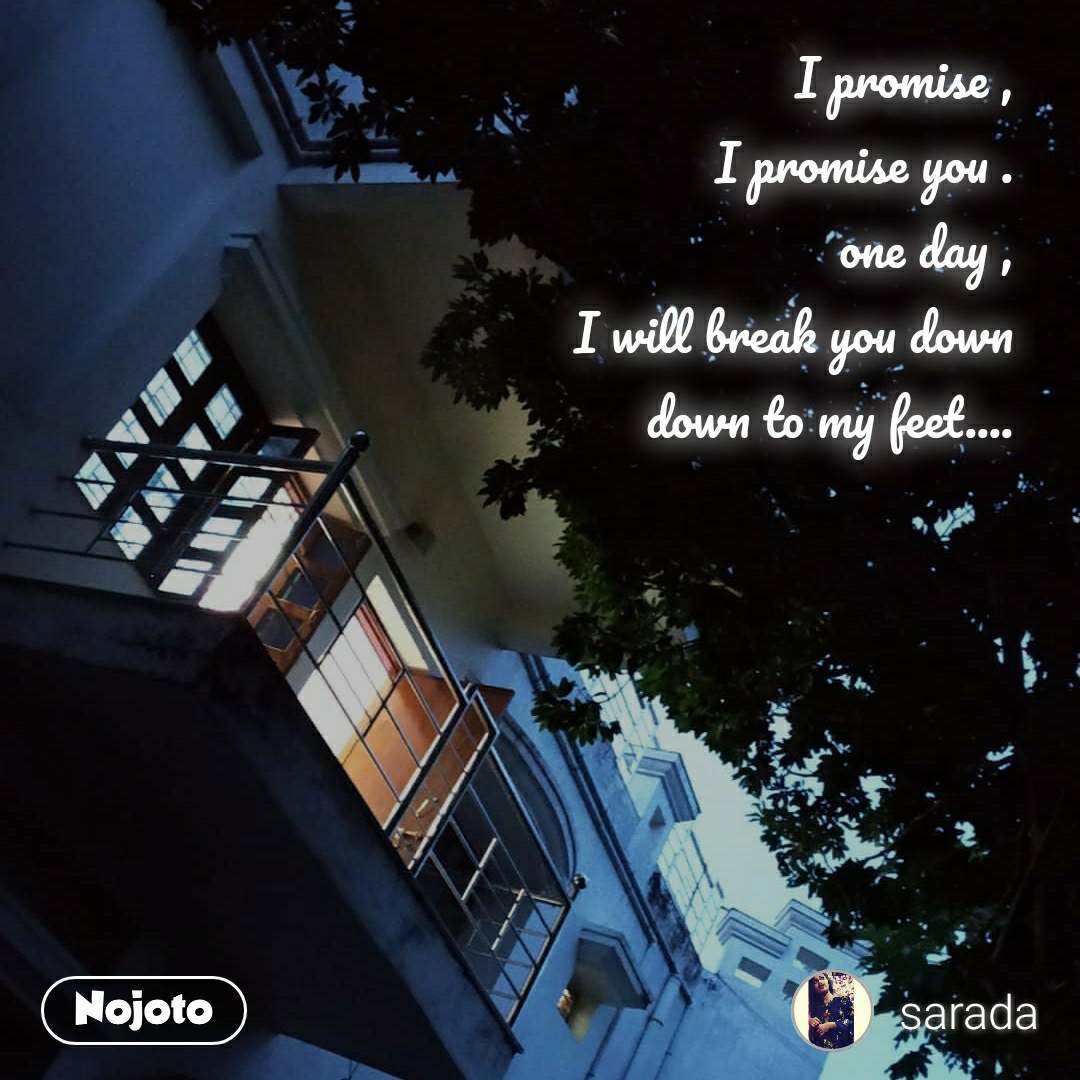 I promise , I promise you . one day , I will break you down down to my feet....
