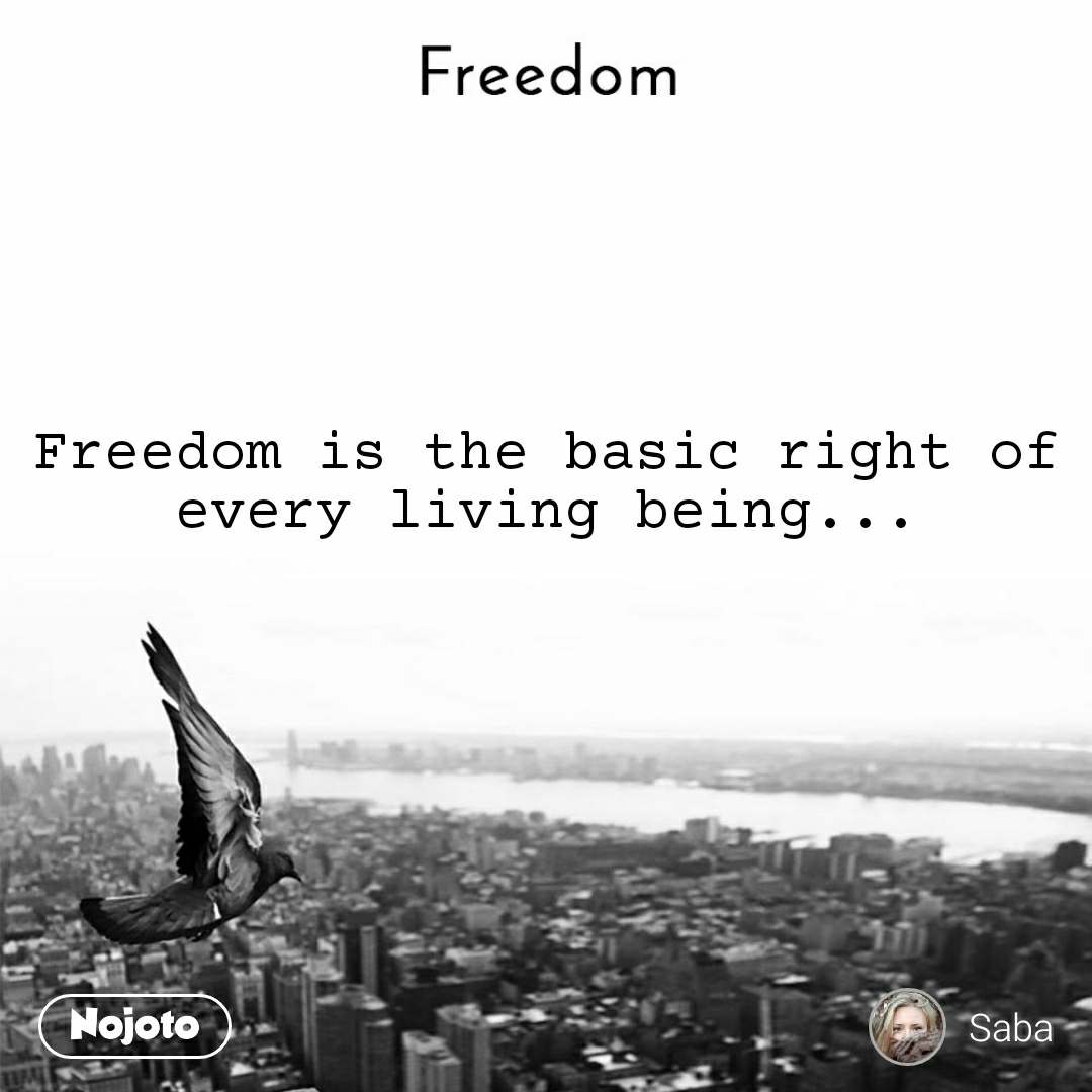 Freedom Freedom is the basic right of every living being...