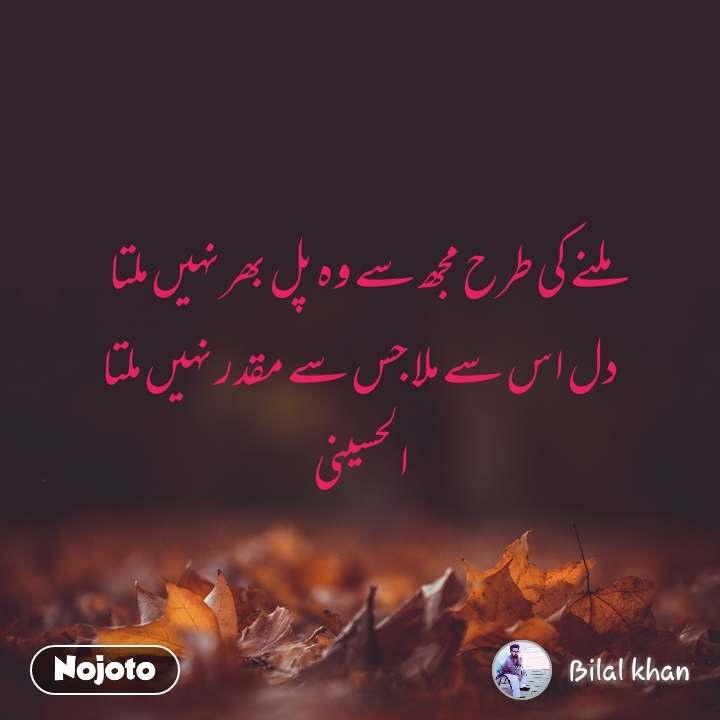 ملنے کی طرح مجھ سے وہ پل بھر نہیں ملتا دل اس سے ملا جس سے مقدر نہیں ملتا الحسینی
