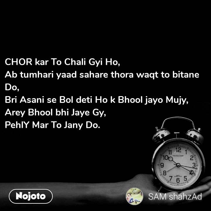 CHOR kar To Chali Gyi Ho,  Ab tumhari yaad sahare thora waqt to bitane Do,  Bri Asani se Bol deti Ho k Bhool jayo Mujy,  Arey Bhool bhi Jaye Gy,  PehlY Mar To Jany Do.