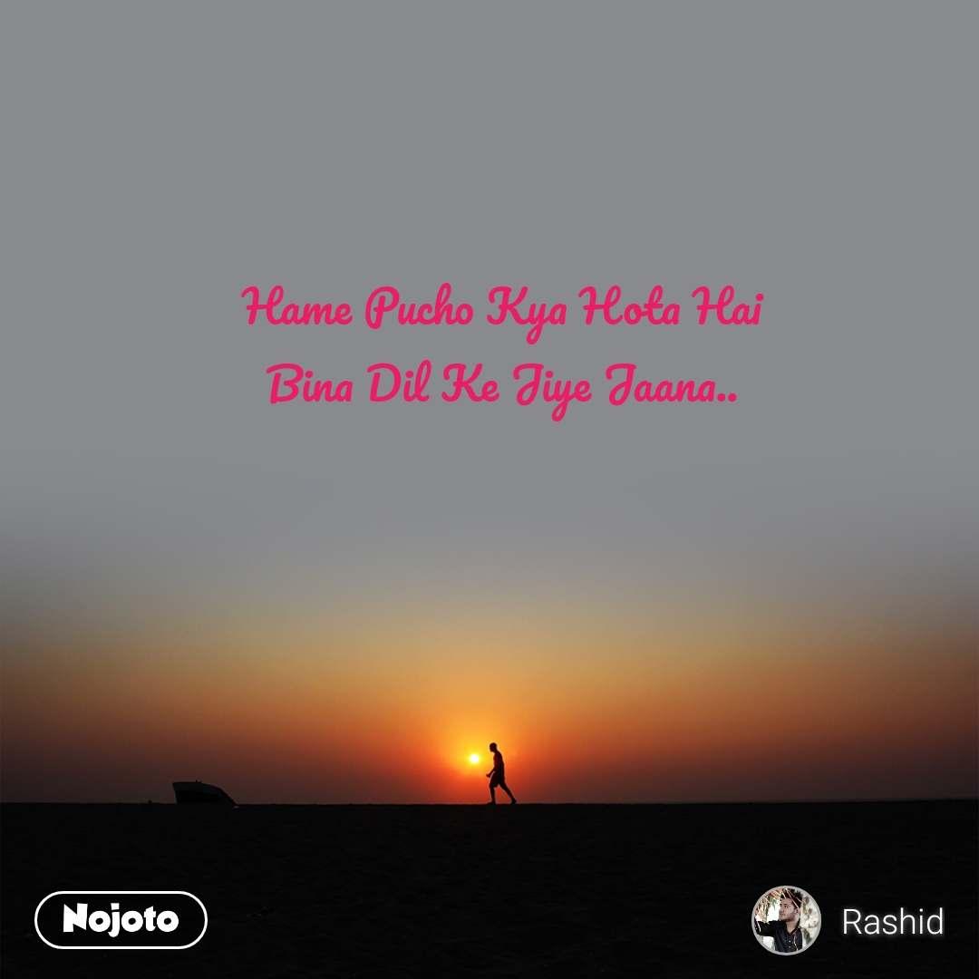 Hame Pucho Kya Hota Hai  Bina Dil Ke Jiye Jaana..
