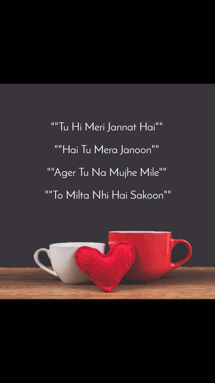 """""""""""Tu Hi Meri Jannat Hai""""""""   """"""""Hai Tu Mera Janoon""""""""   """"""""Ager Tu Na Mujhe Mile""""""""   """"""""To Milta Nhi Hai Sakoon"""""""""""