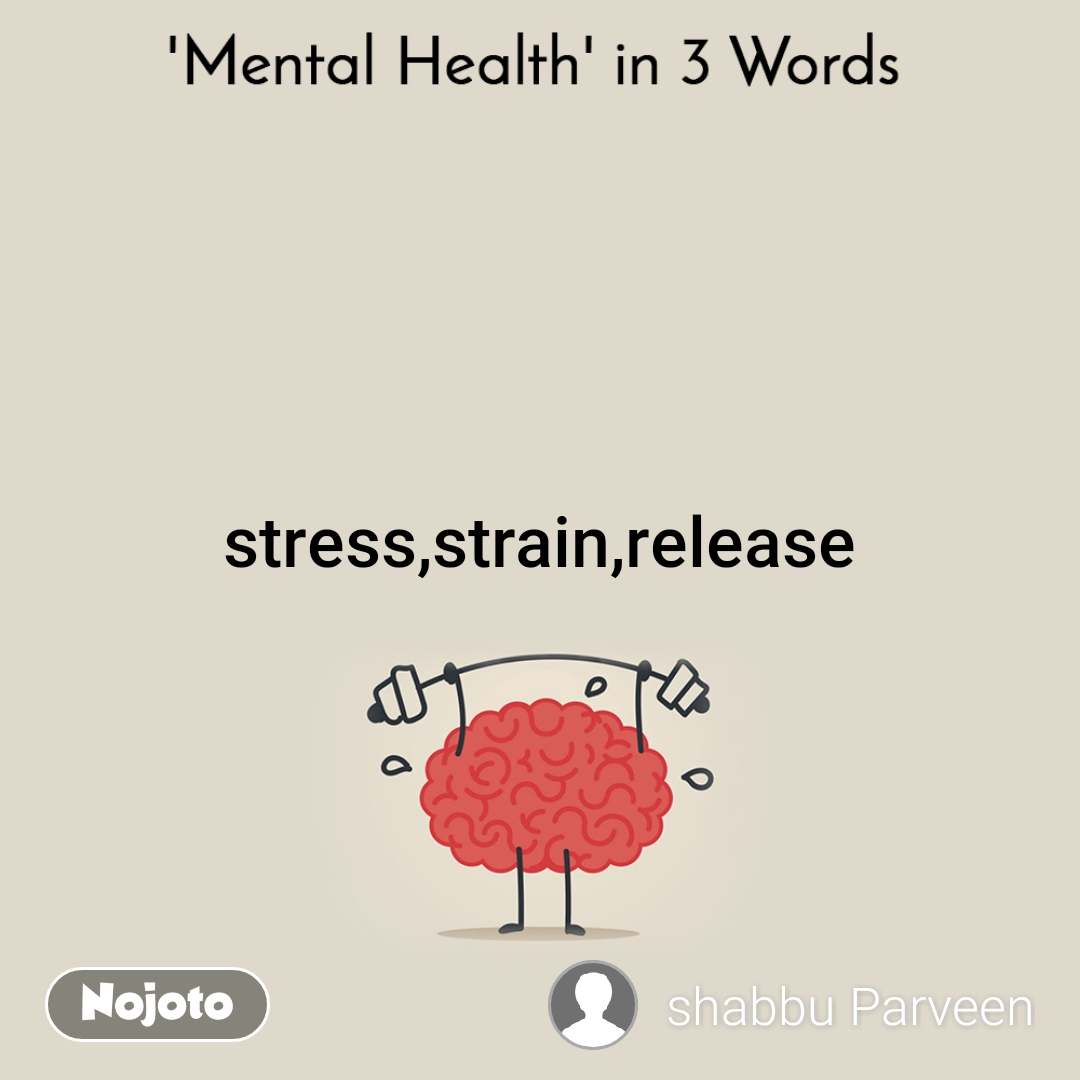 Mental Health In 3 Words  stress,strain,release
