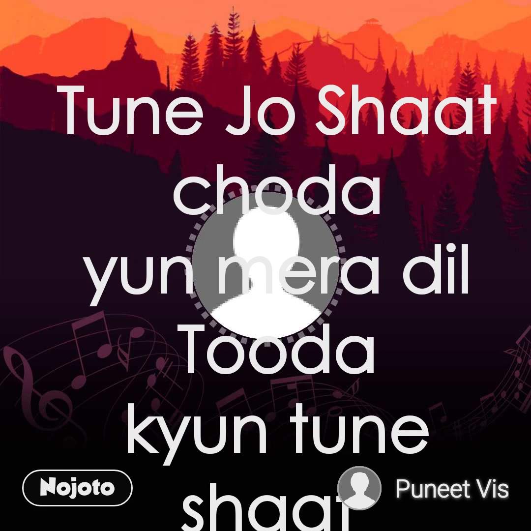 Tune Jo Shaat choda          yun mera dil Tooda kyun tune shaat  choda kyun mera dil Tooda sadko pe ghumta hun main sari sari raat main  Teri hi yaad main Tere intazar main (2) Jo bitaye pal Tere shaat main  unhe karta hun Roz yaad main Adhuri use Aass main ki hun Tere pass sabdo  Ki karu barish use Ahesas Main sadko ghumta hun main sari sari raat main
