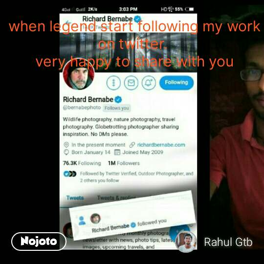 when legend start following my work on twitter.  very happy to share with you #NojotoQuote