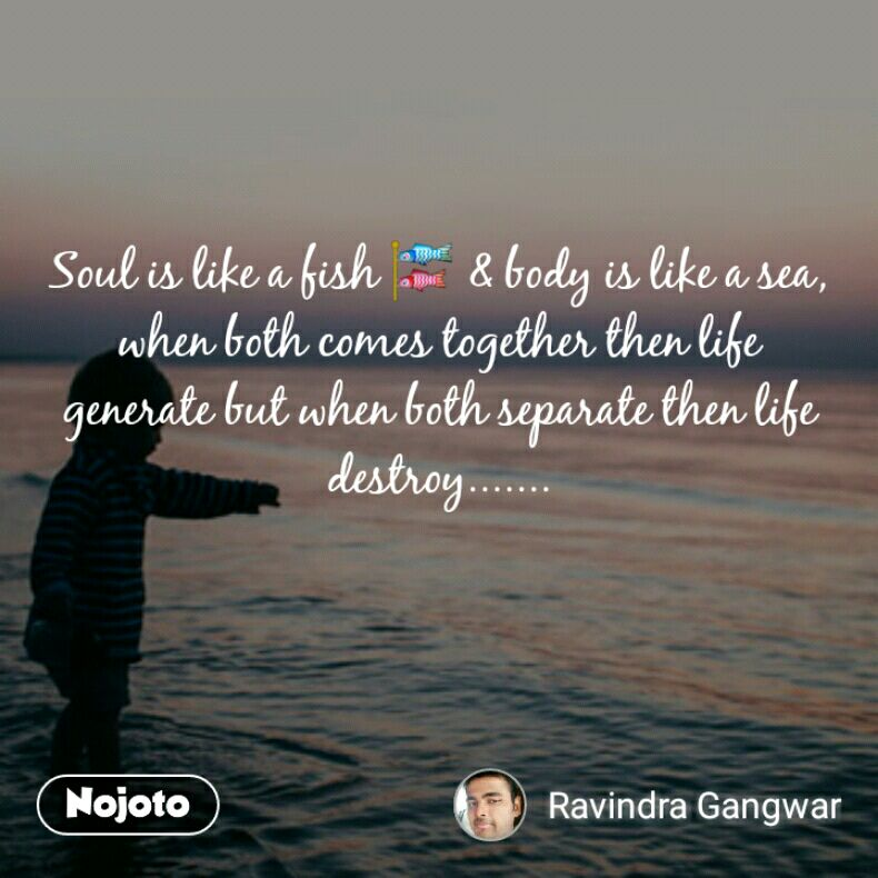 Soul is like a fish 🎏 & body is like a sea, when both comes together then life generate but when both separate then life destroy.......