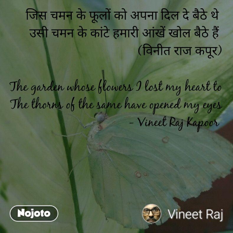 जिस चमन के फूलों को अपना दिल दे बैठे थे  उसी चमन के कांटे हमारी आंखें खोल बैठे हैं  (विनीत राज कपूर)  The garden whose flowers I lost my heart to The thorns of the same have opened my eyes - Vineet Raj Kapoor