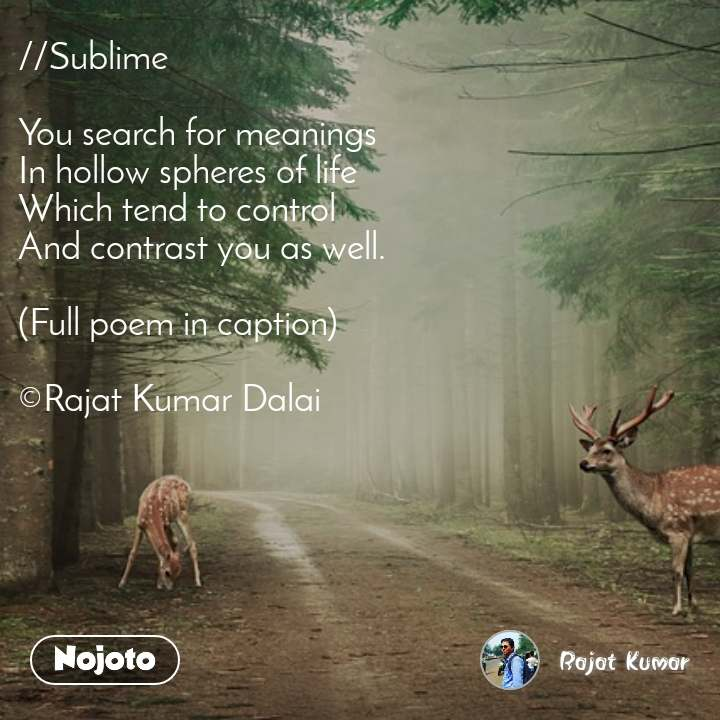 //Sublime   You search for meanings In hollow spheres of life  Which tend to control  And contrast you as well.  (Full poem in caption)  ©Rajat Kumar Dalai