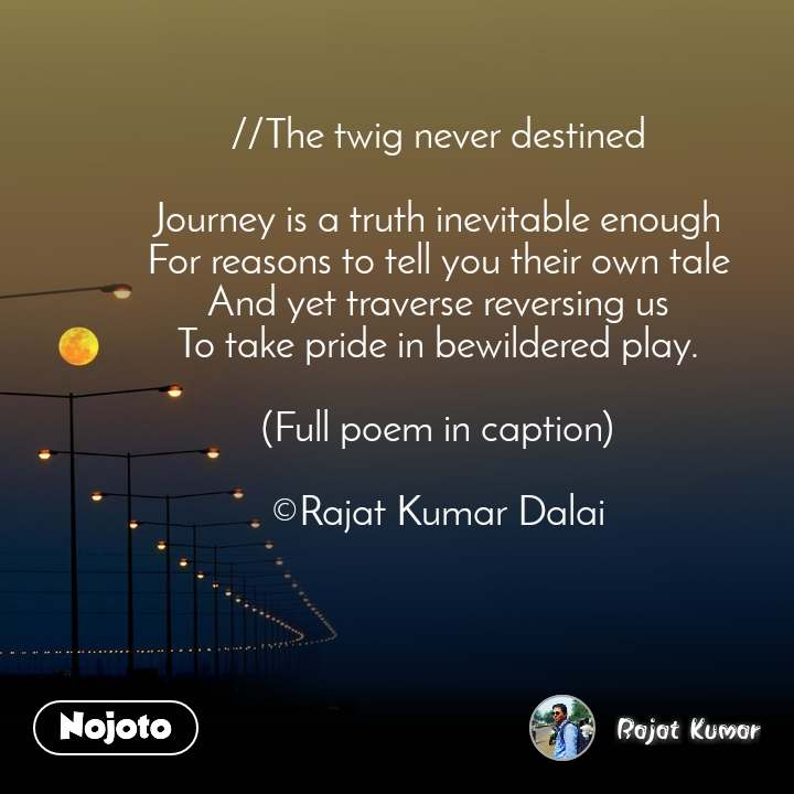 //The twig never destined  Journey is a truth inevitable enough For reasons to tell you their own tale And yet traverse reversing us To take pride in bewildered play.  (Full poem in caption)  ©Rajat Kumar Dalai