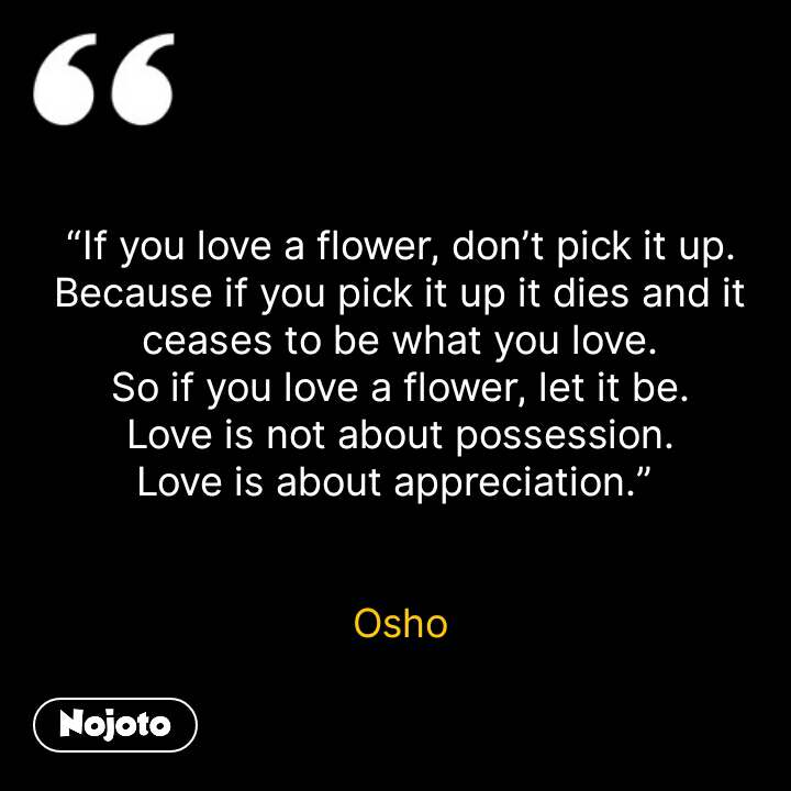 """If you love a flower, don't pick it up. Because if you pick it up it dies and it ceases to be what you love. So if you love a flower, let it be. Love is not about possession. Love is about appreciation.""    Osho #NojotoQuote"