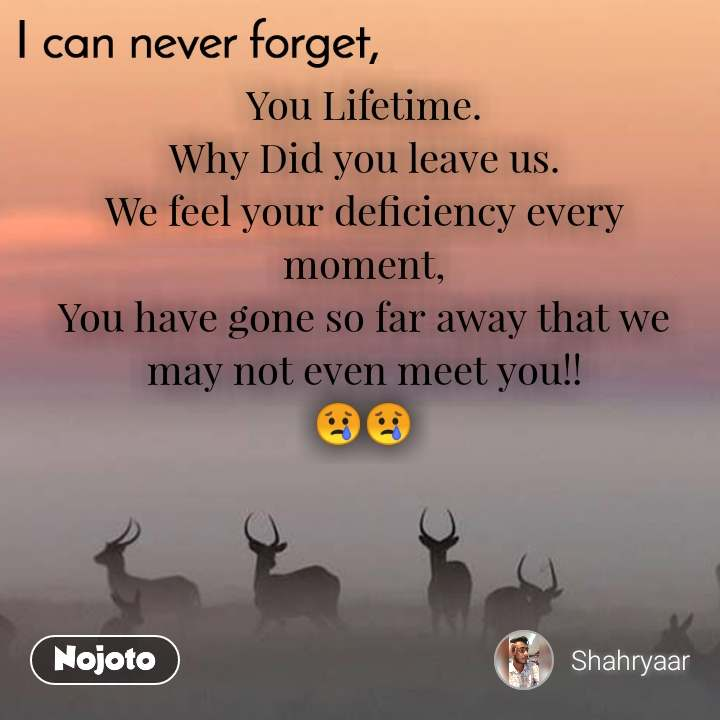 I can never forget You Lifetime. Why Did you leave us. We feel your deficiency every moment, You have gone so far away that we may not even meet you!! 😢😢
