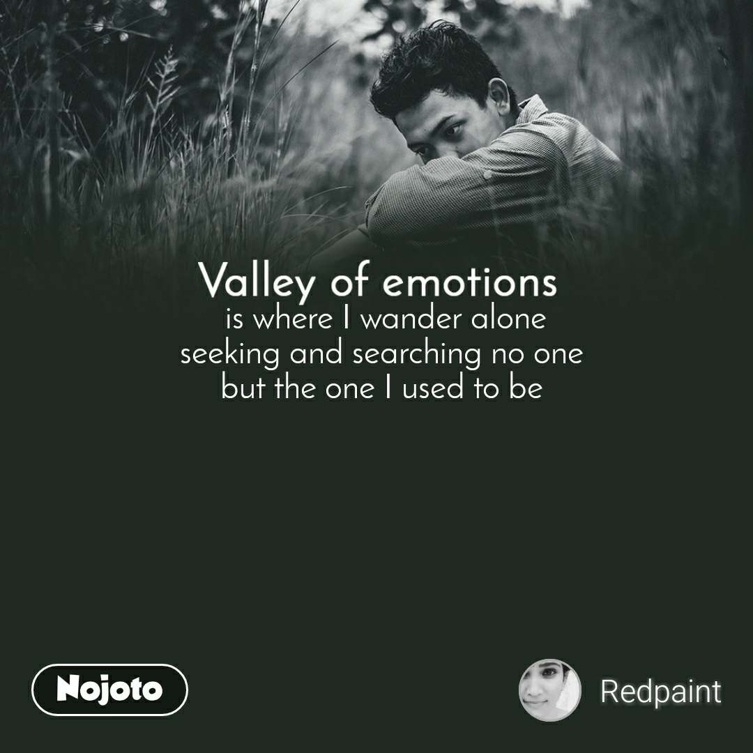 Valley of emotions  is where I wander alone seeking and searching no one but the one I used to be
