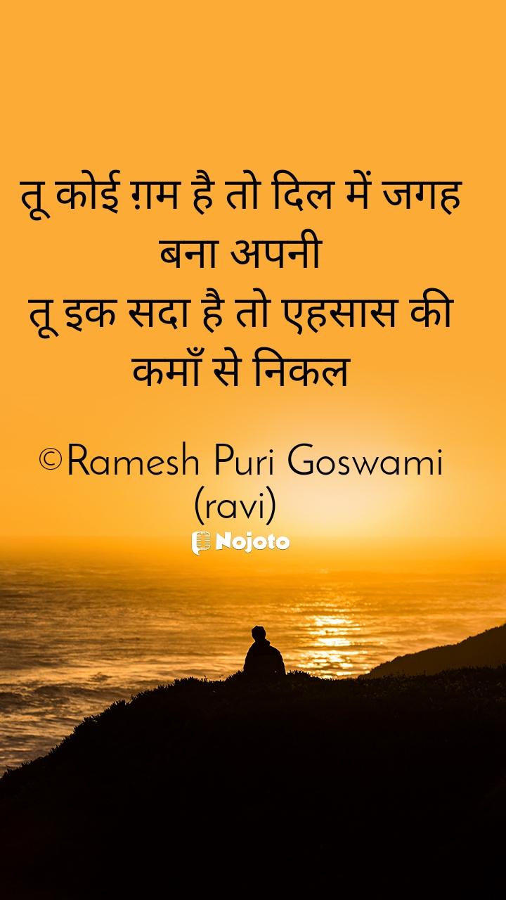 तू कोई ग़म है तो दिल में जगह बना अपनी तू इक सदा है तो एहसास की कमाँ से निकल  ©Ramesh Puri Goswami (ravi)