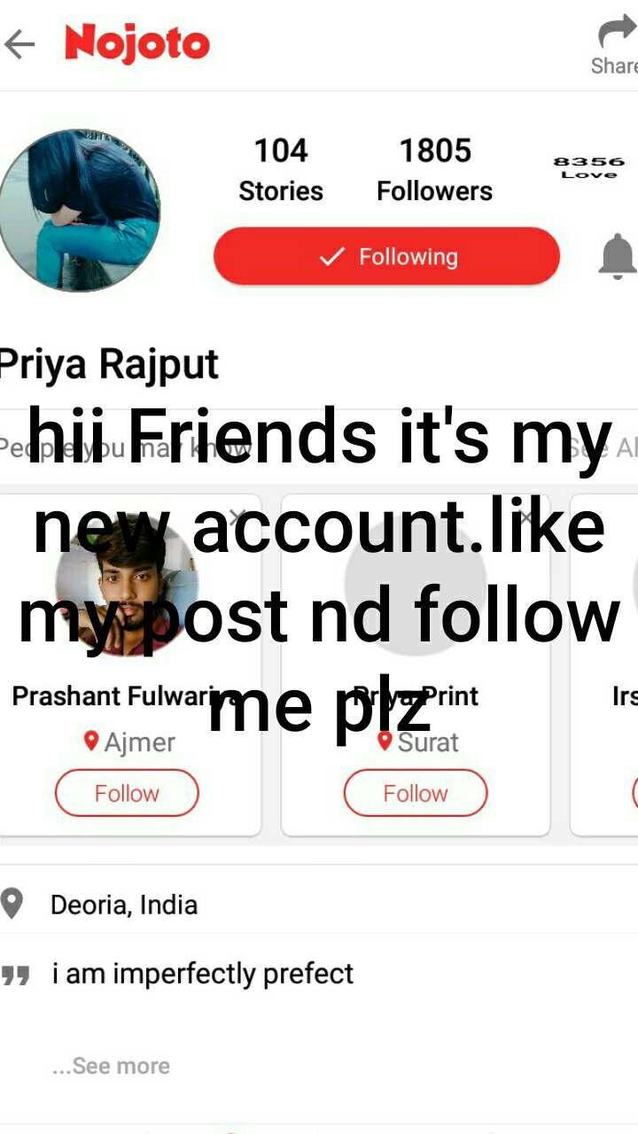 hii Friends it's my new account.like my post nd follow me plz