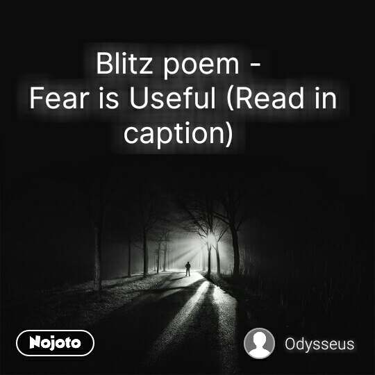 Blitz poem -  Fear is Useful (Read in caption)  #NojotoQuote