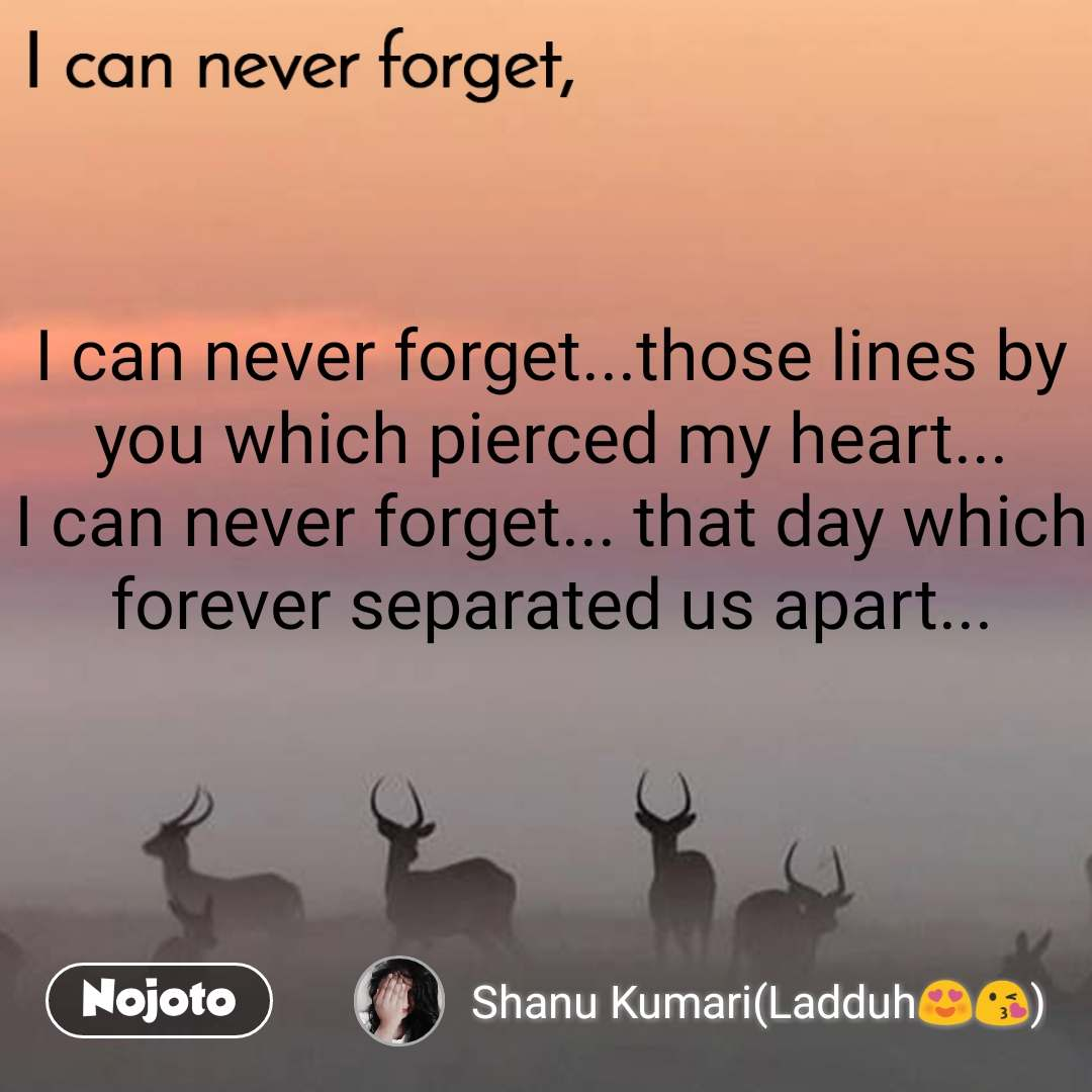 I can never forget I can never forget...those lines by you which pierced my heart... I can never forget... that day which forever separated us apart...