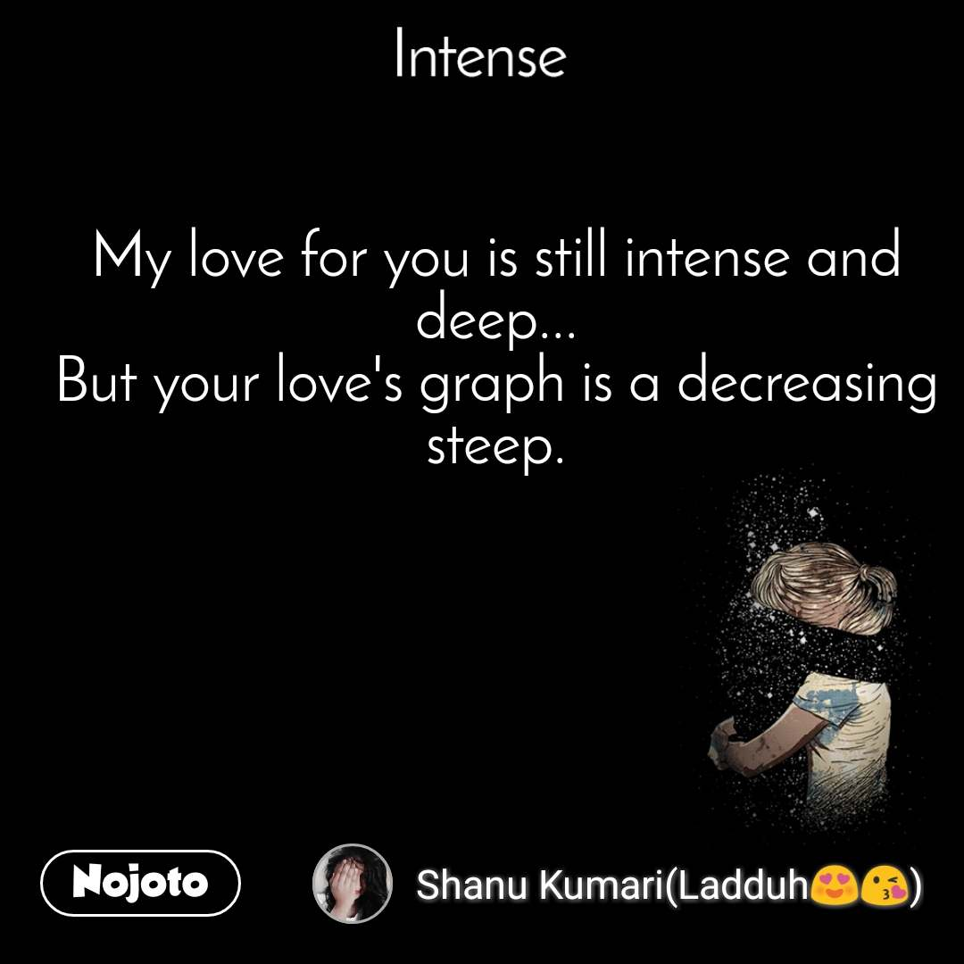 Intense  My love for you is still intense and deep... But your love's graph is a decreasing steep.
