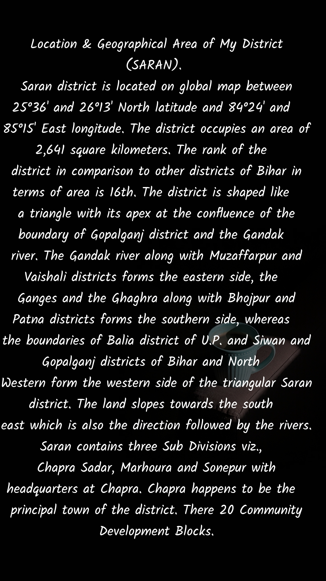 Location & Geographical Area of My District (SARAN).