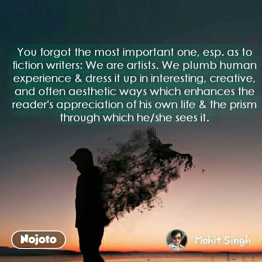 You forgot the most important one, esp. as to fiction writers: We are artists. We plumb human experience & dress it up in interesting, creative, and often aesthetic ways which enhances the reader's appreciation of his own life & the prism through which he/she sees it. #NojotoQuote