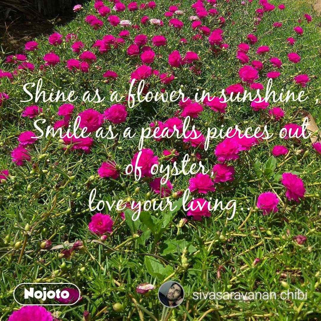 Shine as a flower in sunshine , Smile as a pearls pierces out of oyster, love your living..