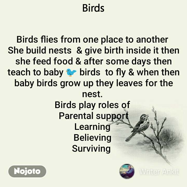 Birds Birds flies from one place to another  She build nests  & give birth inside it then she feed food & after some days then teach to baby 🐦 birds  to fly & when then baby birds grow up they leaves for the nest.  Birds play roles of  Parental support Learning  Believing  Surviving