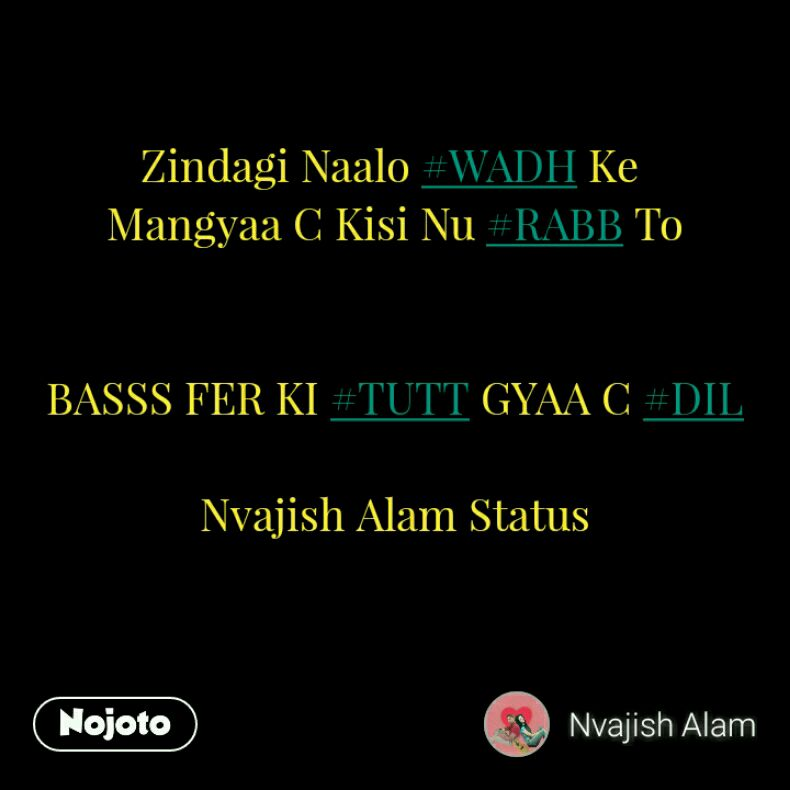 Zindagi Naalo #WADH Ke  Mangyaa C Kisi Nu #RABB To   BASSS FER KI #TUTT GYAA C #DIL  Nvajish Alam Status