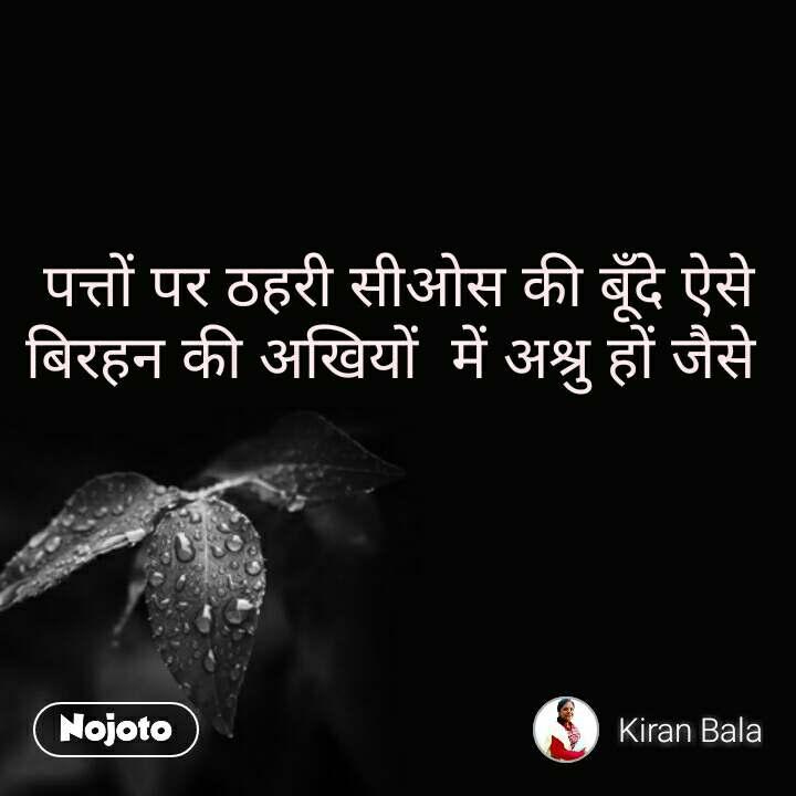 Good Morning quotes in Hindi पत्तों पर ठहरी सीओस की बूँदे ऐसे बिरहन की अखियों  में अश्रु हों जैसे    #NojotoQuote