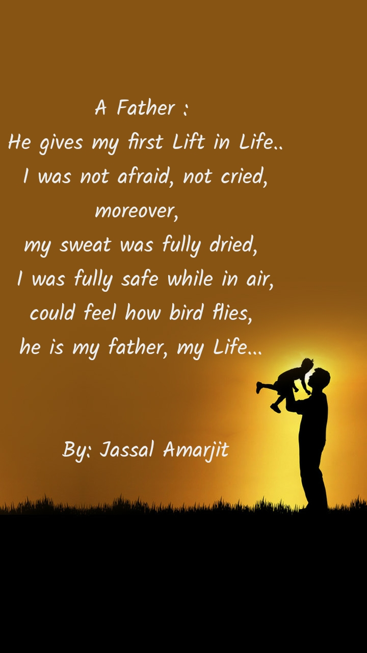 A Father :  He gives my first Lift in Life.. I was not afraid, not cried, moreover,   my sweat was fully dried,  I was fully safe while in air, could feel how bird flies,  he is my father, my Life...    By: Jassal Amarjit