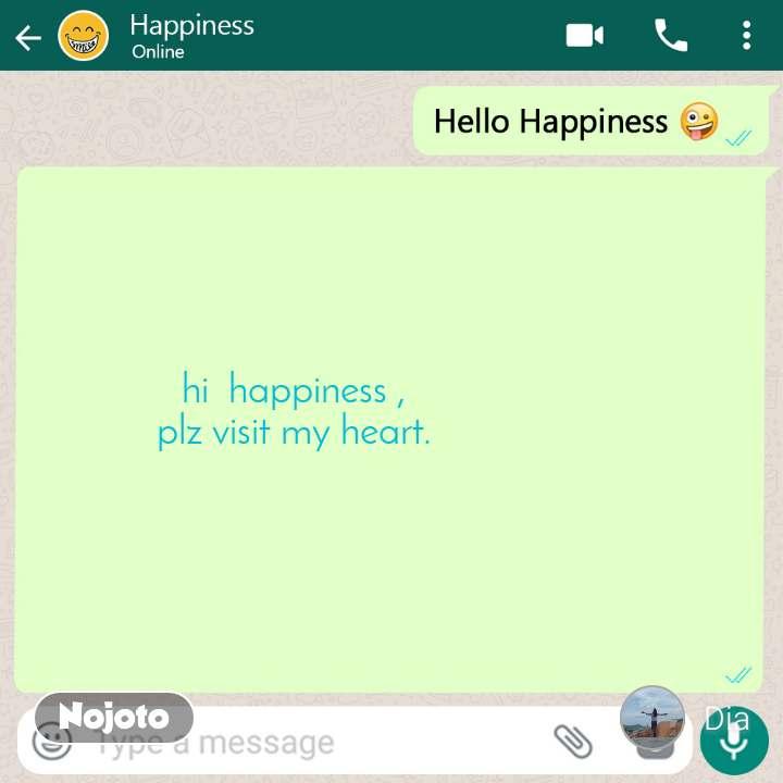 Hello happiness hi  happiness , plz visit my heart.