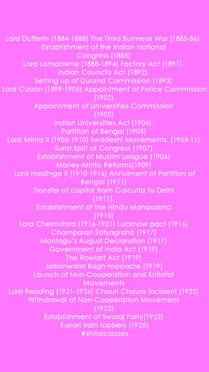 Lord Dufferin (1884-1888) The Third Burmese War (1885-86). Establishment of the Indian National Congress (1885) Lord Lansdowne (1888-1894) Factory Act (1891). Indian Councils Act (1892). Setting up of Durand Commission (1893) Lord Curzon (1899-1905) Appointment of Police Commission (1902) Appointment of Universities Commission (1902) Indian Universities Act (1904). Partition of Bengal (1905) Lord Minto II (1905-1910) Swadeshi Movements. (1905-11) Surat Split of Congress (1907) Establishment of Muslim League (1906) Morley-Minto Reforms(1909) Lord Hardinge II (1910-1916) Annulment of Partition of Bengal (1911) Transfer of capital from Calcutta to Delhi (1911). Establishment of the Hindu Mahasabha (1915) Lord Chelmsford (1916-1921) Lucknow pact (1916) Champaran Satyagraha (1917) Montagu's August Declaration (1917) Government of India Act (1919) The Rowlatt Act (1919) Jallianwalla Bagh massacre (1919) Launch of Non-Cooperation and Khilafat Movements Lord Reading (1921-1926) Chauri Chaura incident (1922) Withdrawal of Non-Cooperation Movement (1922) Establishment of Swaraj Party(1922) Kakori train robbery (1925) #shitalclasses