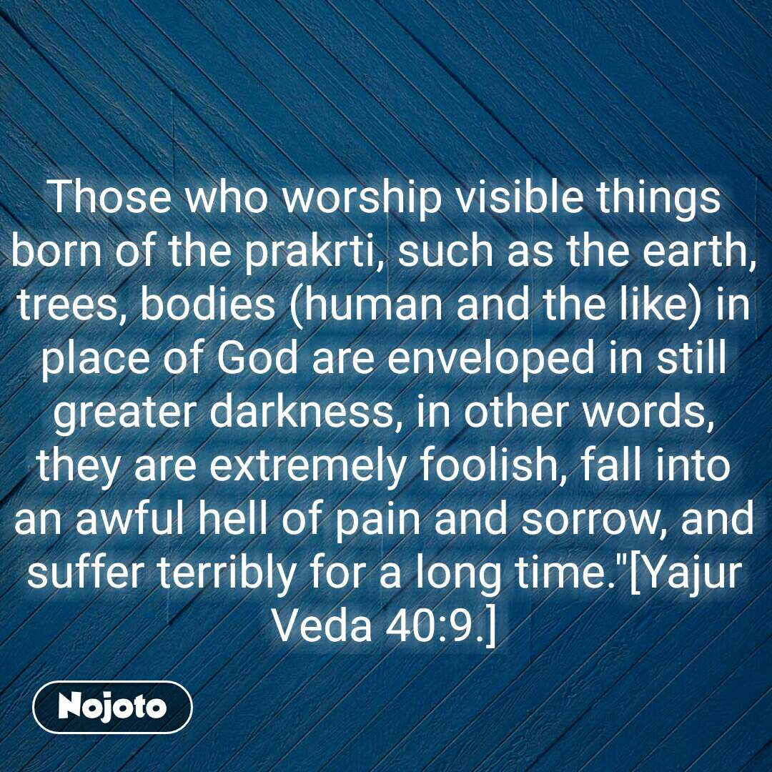 "Those who worship visible things born of the prakrti, such as the earth, trees, bodies (human and the like) in place of God are enveloped in still greater darkness, in other words, they are extremely foolish, fall into an awful hell of pain and sorrow, and suffer terribly for a long time.""[Yajur Veda 40:9.]"