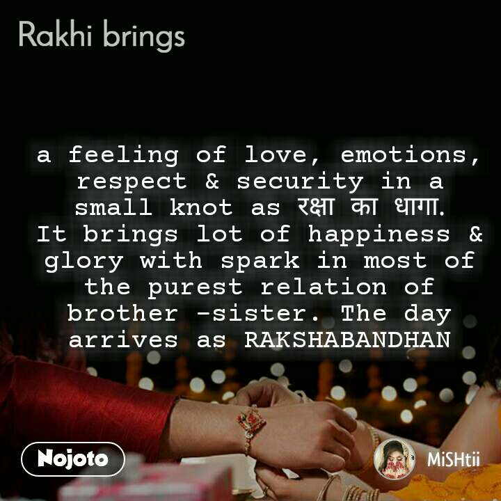 a feeling of love, emotions, respect & security in a small knot as रक्षा का धागा. It brings lot of happiness & glory with spark in most of the purest relation of brother -sister. The day arrives as RAKSHABANDHAN