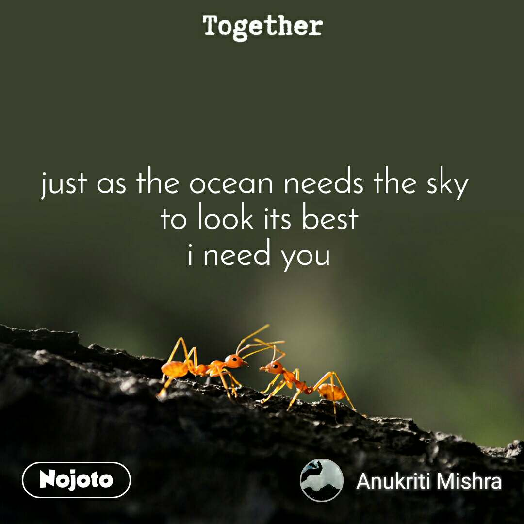 Together just as the ocean needs the sky  to look its best  i need you