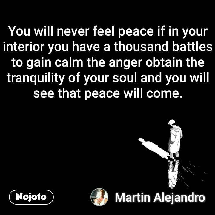 You will never feel peace if in your interior you have a thousand battles to gain calm the anger obtain the tranquility of your soul and you will see that peace will come.