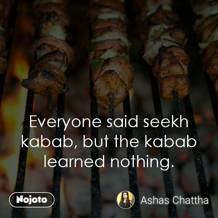 Everyone said seekh kabab, but the kabab learned nothing.
