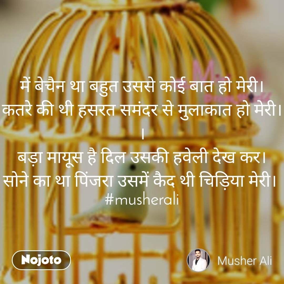 #OpenPoetry में बेचैन था बहुत उससे कोई बात हो मेरी। कतरे की थी हसरत समंदर से मुलाकात हो मेरी। । बड़ा मायूस है दिल उसकी हवेली देख कर। सोने का था पिंजरा उसमें कैद थी चिड़िया मेरी।  #musherali