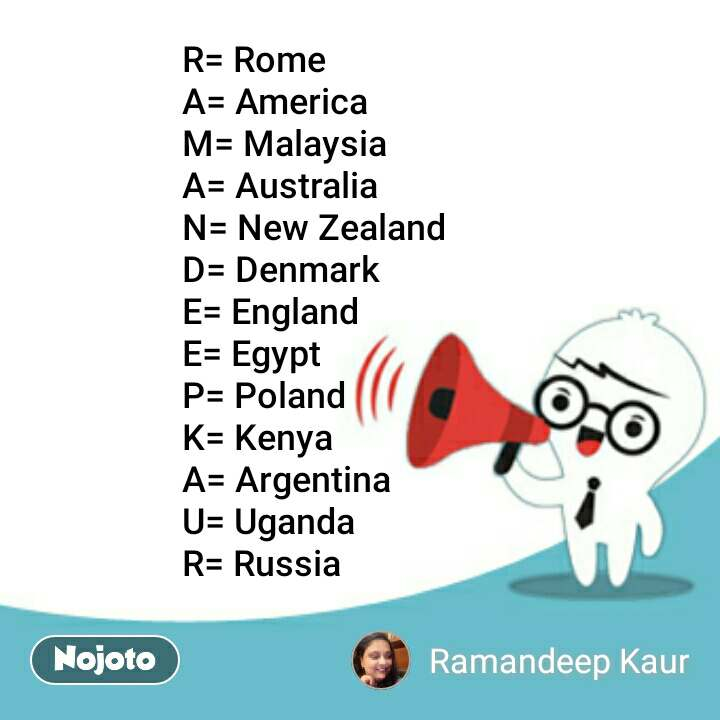 R= Rome A= America M= Malaysia  A= Australia  N= New Zealand  D= Denmark  E= England  E= Egypt  P= Poland  K= Kenya  A= Argentina  U= Uganda  R= Russia