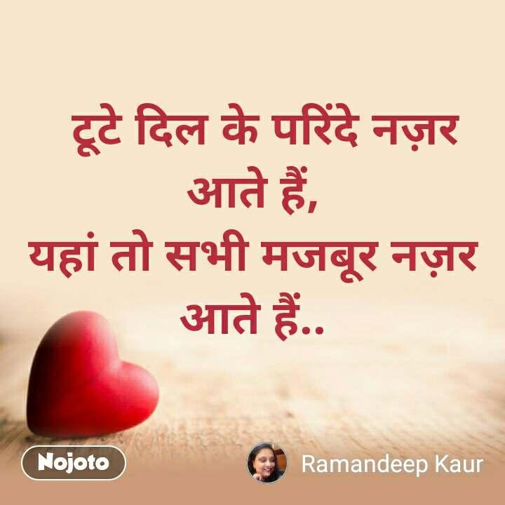 Dil Shayari    टूटे दिल के परिंदे नज़र आते हैं, यहां तो सभी मजबूर नज़र आते हैं..