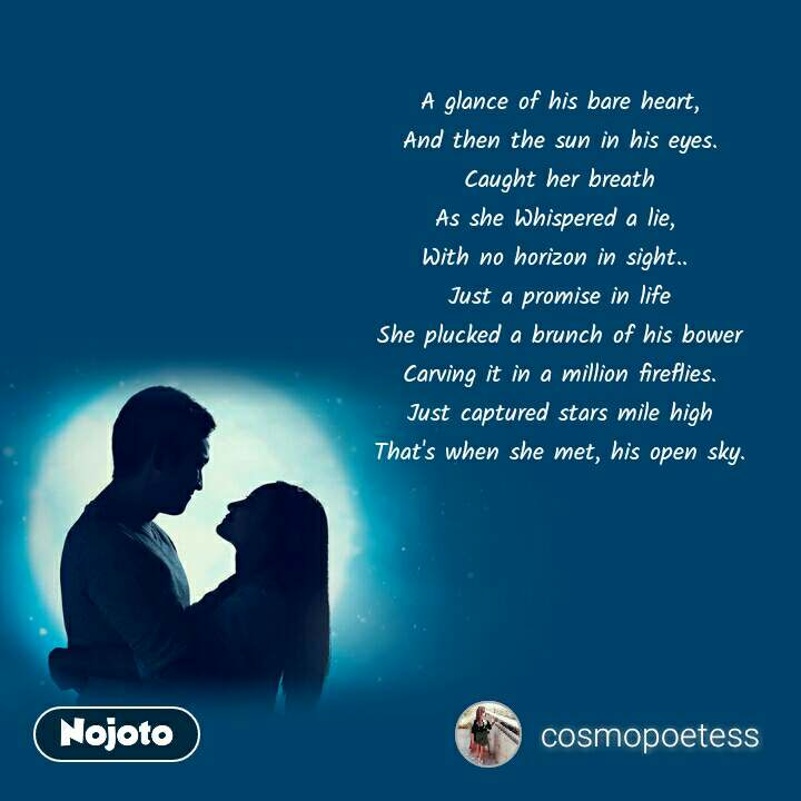 A glance of his bare heart, And then the sun in his eyes. Caught her breath As she Whispered a lie,  With no horizon in sight..  Just a promise in life She plucked a brunch of his bower Carving it in a million fireflies. Just captured stars mile high That's when she met, his open sky.