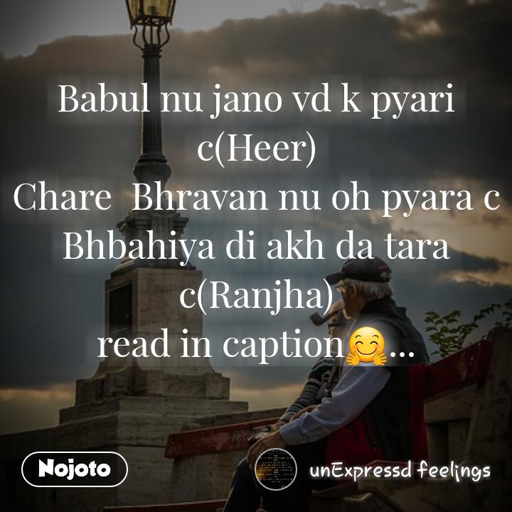 Babul nu jano vd k pyari c(Heer) Chare Bhravan nu oh pyara c Bhbahiya di akh da tara c(Ranjha) read in caption🤗...