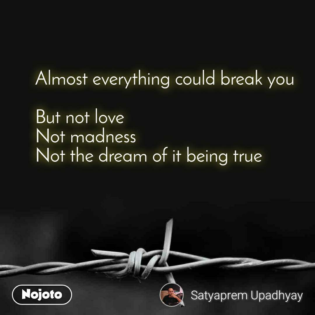 Almost everything could break you  But not love Not madness Not the dream of it being true