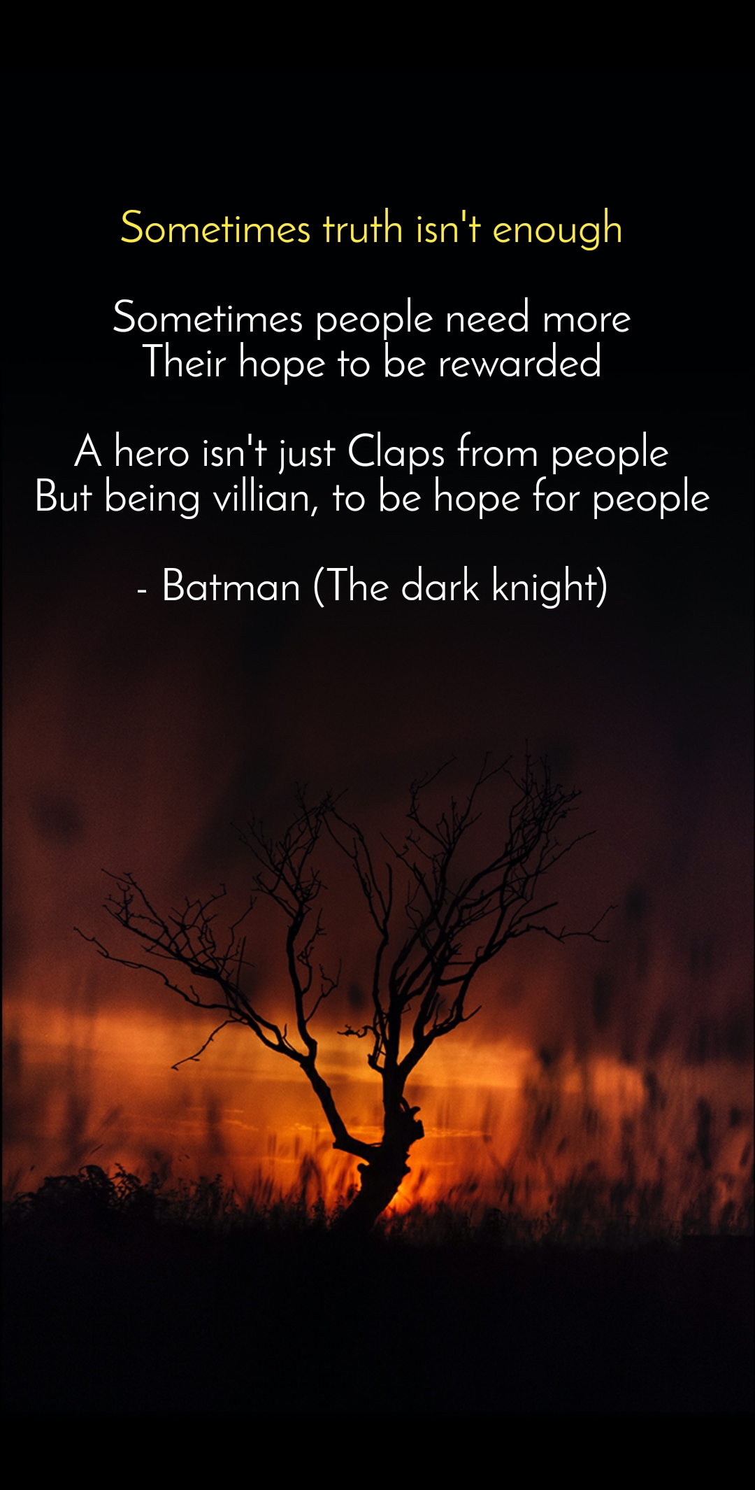 Sometimes truth isn't enough  Sometimes people need more Their hope to be rewarded  A hero isn't just Claps from people But being villian, to be hope for people  - Batman (The dark knight)