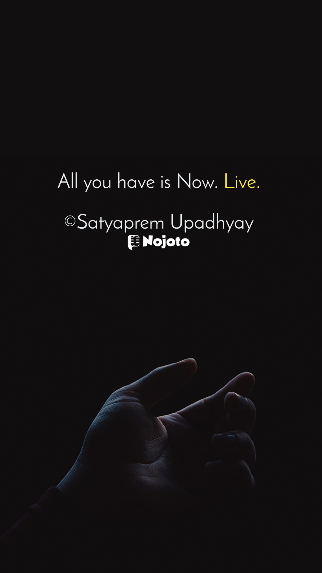 All you have is Now. Live.  ©Satyaprem Upadhyay