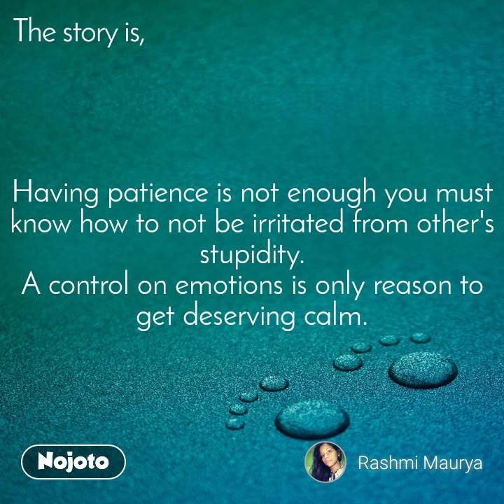 The story is, Having patience is not enough you must know how to not be irritated from other's stupidity. A control on emotions is only reason to get deserving calm.