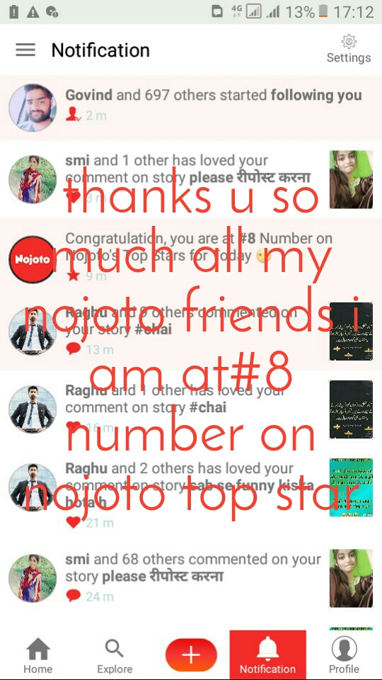 thanks u so much all my nojoto friends i am at#8 number on nojoto top star