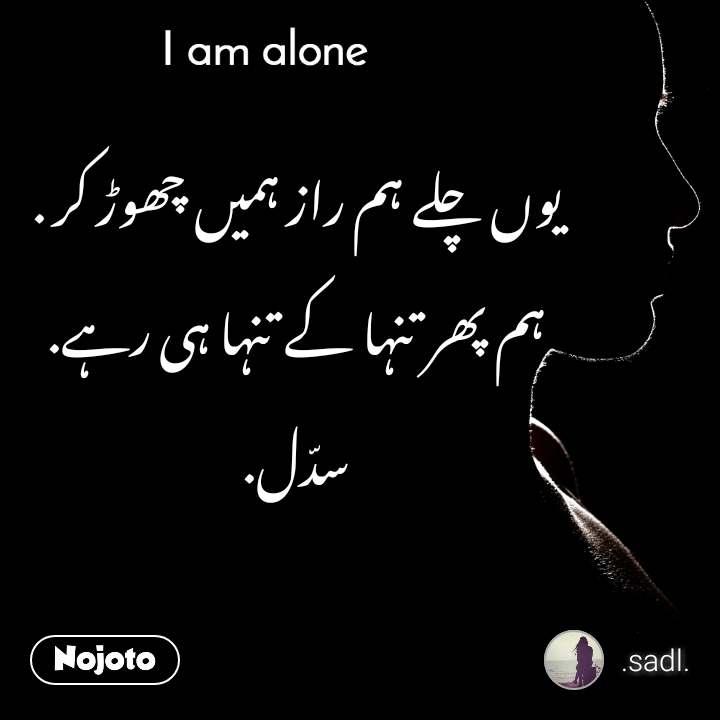 I am alone یوں چلے ہم راز ہمیں چھوڑ کر . ہم پھر تنہا کے تنہا ہی رہے. سدّل.