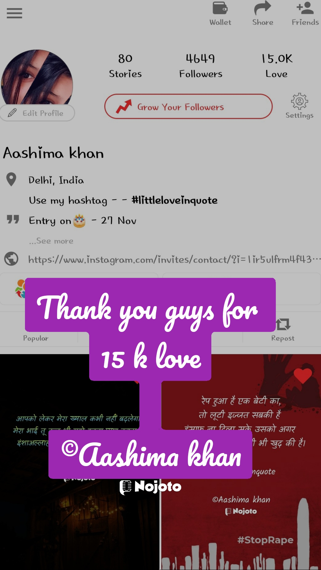 Thank you guys for  15 k love  ©Aashima khan