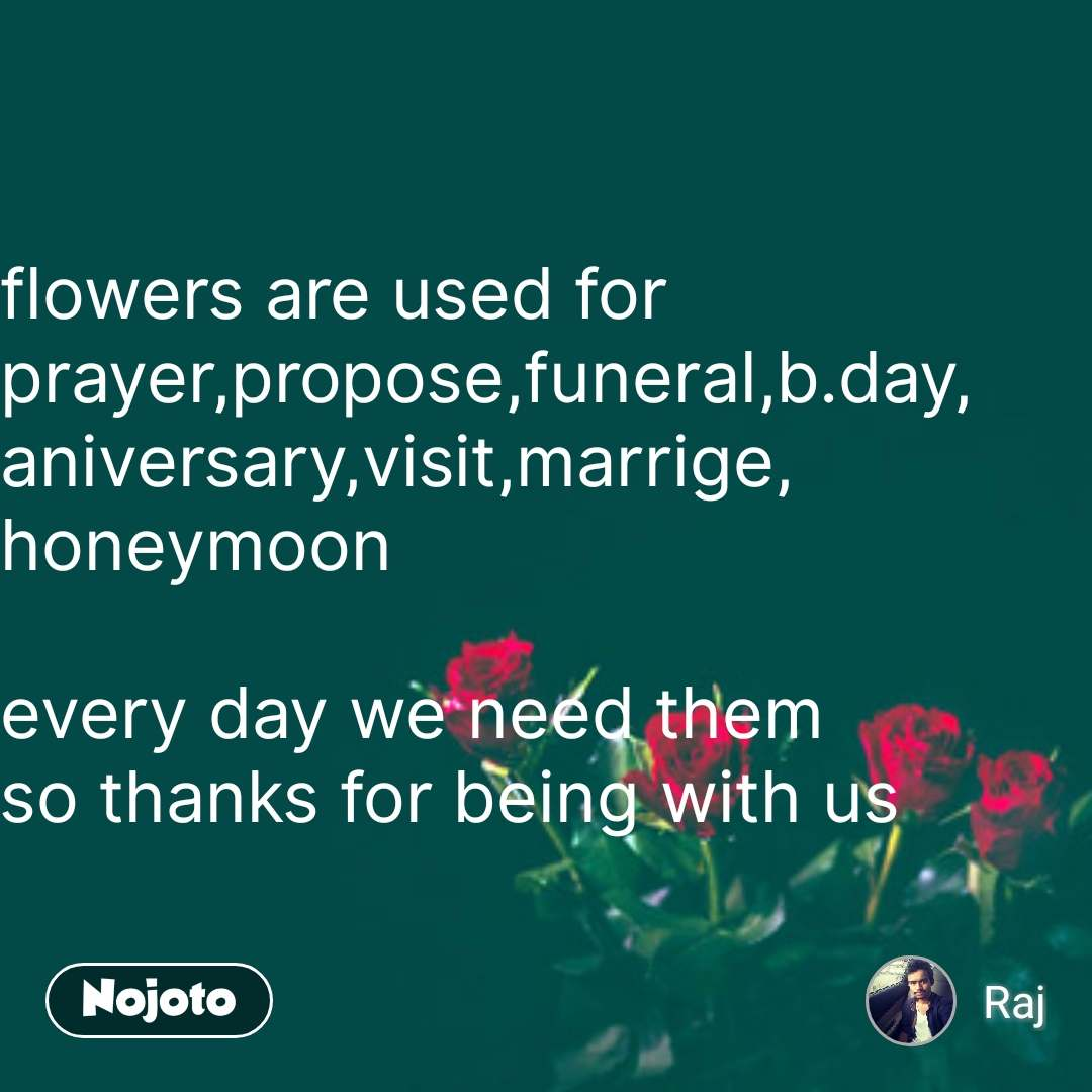 flowers are used for prayer,propose,funeral,b.day, aniversary,visit,marrige, honeymoon  every day we need them so thanks for being with us #NojotoQuote