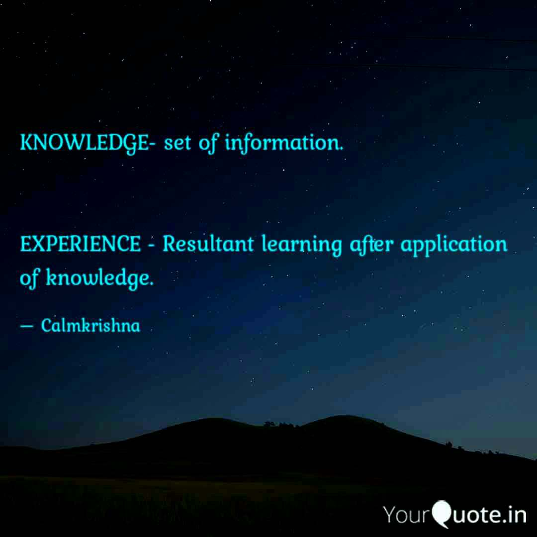 knowledge and experience knowledge experience english quotes